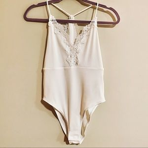 Topshop Tops - ❌SOLD❌ TOPSHOP White Cream Lace Bodysuit Top NWT